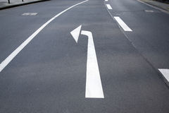 Left Turn Arrow in Street Stock Photography