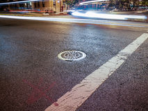 Left turn. Intersection at night in New York City Royalty Free Stock Photos