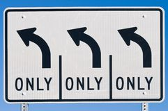 Left Turn Lanes Royalty Free Stock Images