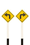 Left turn and right turn road signpost Royalty Free Stock Images