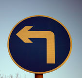 Left turn sign Stock Images