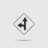Left turn split sign on transparent background stock illustration