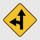 Left turn split sign on transparent background royalty free illustration