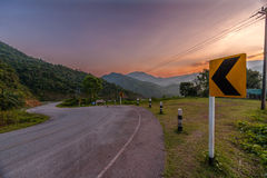 Left winding road Stock Photo