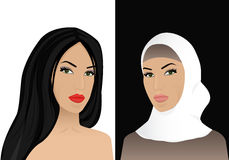 Woman in hijab and without hijab Stock Image