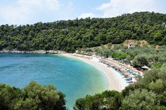 Leftis Gialos beach in greek island Alonissos. Greece royalty free stock photography