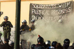 Leftist and anarchist groups seeking the abolition of new maximum security prisons. ATHENS, GREECE - APR 16, 2015: Leftist and anarchist groups seeking the Royalty Free Stock Image