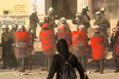 Leftist and anarchist groups seeking the abolition of new maximum security prisons, clashed with riot police. ATHENS, GREECE - APR 16, 2015: Leftist and Royalty Free Stock Images