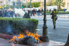 Leftist and anarchist groups seeking the abolition of new maximum security prisons, clashed with riot police. ATHENS, GREECE - APR 16, 2015: Leftist and Stock Image
