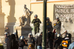 Leftist and anarchist groups seeking the abolition of new maximum security prisons, clashed with riot police Stock Photo