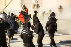 Leftist and anarchist groups seeking the abolition of new maximum security prisons, clashed with riot police,. ATHENS, GREECE - APR 16, 2015: Leftist and Stock Photography