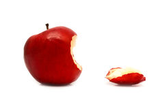 Leftover bit of apple on a white background