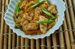 Leftover Chicken Stir Fry. Filipino Stir Fry Noodles with Chicken Royalty Free Stock Photo