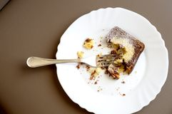 Leftover of chocolate cake, with big crump Stock Photo