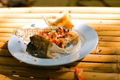 Leftover food. On place after partying Royalty Free Stock Image