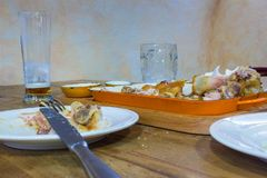 Leftover food on place after partying. At Prague Royalty Free Stock Photo