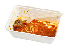 Leftover meatball spaghetti Stock Photos