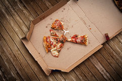 Leftover pizza stock image