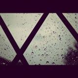 Leftover Rain. Raindrops on a Window Stock Photo