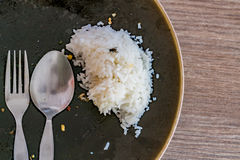 Leftover rice on dish Stock Images