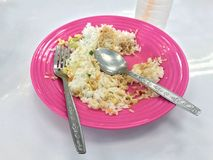 Leftover rice on a plate is food trash can bin, be satisfied food. Rice Leftover on a plate is food trash can bin, be satisfied food Royalty Free Stock Photo