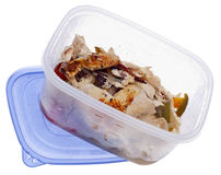 Leftover Roasted Chicken. With Vegetables in a Plastic Storage Container with Lid Isolated on White Royalty Free Stock Images