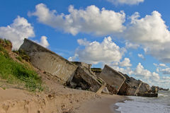 Leftovers of bombed sovjet fortress on the coast of  Liepaja Stock Image