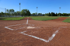 Leftside Low Angle Ball Field. A low angle shot of a baseball field Stock Photo