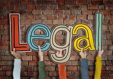 Legítimos permitida legales aprueban las manos de la pared de ladrillos detienen concepto imágenes de archivo libres de regalías