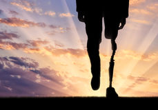 Leg with artificial limb Royalty Free Stock Photo
