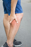 Leg bones pain. Calf injury stock photo