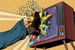 Leg breaks TV, concept fake news stock illustration