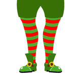 Leg Christmas elf. Striped stockings and green shoes. Assistant stock illustration