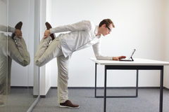 Free Leg Exercise Durrng Office Work Royalty Free Stock Photo - 33125665