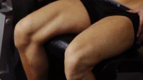 Leg extension. Closeup stock footage