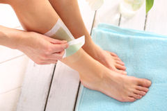 Leg Hair.Removal wax. Royalty Free Stock Photography