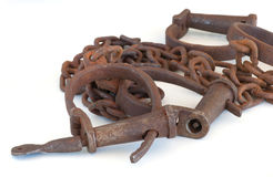 Leg & hand cuffs old rusted antiqued iron with key. Reproduction of old set of iron restraints Royalty Free Stock Photo