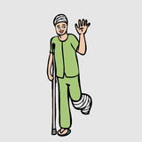 Leg injure patient. Head and leg injury man cartoon character Royalty Free Stock Photography