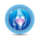 Leg joint in the round blue shape Royalty Free Stock Photos