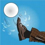 Leg kicking a ball pop art comic Stock Photos
