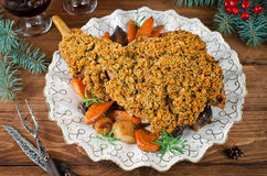 Leg of lamb baked with spicy bread crust Royalty Free Stock Images