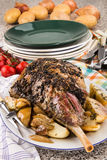 Leg of lamb with potato and onion royalty free stock images