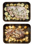 Leg of Lamb with Potatoes and Rosemary Raw and Roasted Top View Royalty Free Stock Photos