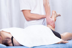 Leg massage in a hospital Royalty Free Stock Image