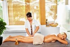 Leg Massage Spa Therapy. Body Care. Masseur Massaging Female Leg Stock Photography
