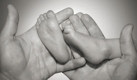 Leg of the newborn child in caring hands Royalty Free Stock Photography