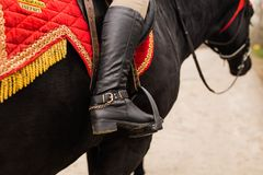 Free Leg Of A Rider In The Stirrup Of A Saddle Royalty Free Stock Photos - 108526878