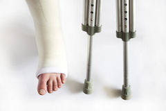 Leg in plaster. And crutches on white background Royalty Free Stock Images