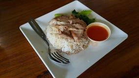 Leg pork soup on rice. Souce pork vegetable Stock Images