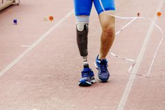Leg prosthetic of athlete paralympic. Disabled  long jump competitions Stock Photo